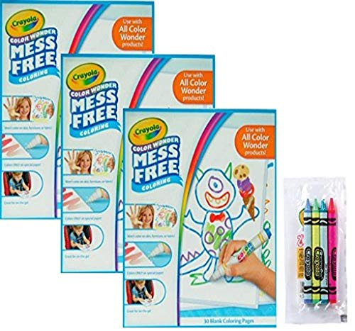 Crayola Color Wonder Drawing Paper, 90 Sheets, Bundled with a 4-Pack of Cello Wrapped Crayola Crayons
