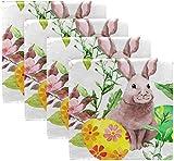 BONRI Juego de 4 servilletas de poliéster Lavables de poliéster para Mesa de Comedor, Boda, Fiesta, Vacaciones de otoño, Juego de 4 Huevos de Color de Conejo de Pascua Feliz en Hierba con ram 20'X20'