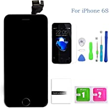 FFtopu Compatible with iPhone 6s Screen Replacement Black LCD Display & Touch Screen Digitizer Frame Full Assmbly with Front Camera+Home Button+Earpiece Speaker+Screen Protector Free Repair Tools