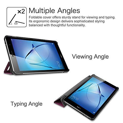 Fintie Huawei Mediapad T3 8 Hülle Case - Ultra Dünn Superleicht SlimShell Ständer Cover Schutzhülle Tasche mit Zwei Einstellbarem Standfunktion für Huawei T3 20,3 cm (8,0 Zoll), Lila - 5