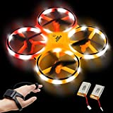 SIX FOXES Hand Operated Drone, Gravity Sensor RC Drone for Kids, RTF Mini Drone Toys with Double Colors LED Lights, Gifts idea for Children in Christmas, Birthday