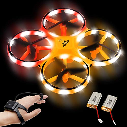 SIX FOXES Hand Operated Drone, Gravity Sensor RC Drone for Kids, RTF Mini Drone Toys with Double Colors LED Lights Included 2 Drone Battery, Gifts idea for Children in Christmas, Birthday