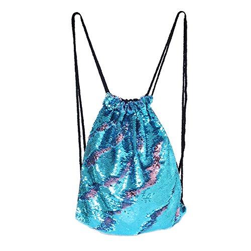 DrCosy Meerjungfrau Kordelzug Magie Reversible Pailletten Rucksack Mode Glitzernde Tanz Tasche mit Tasche 35x45CM (Blau/Rosa)