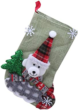 Lethez Mini Christmas Stockings Santa Claus Snowman Stocking Gift Card Bags Holders for Xmas Tree Decorations
