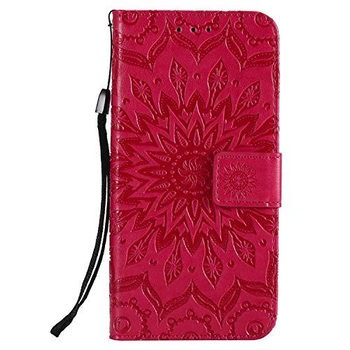 KKEIKO Hülle für Galaxy A6 2018, PU Leder Brieftasche Schutzhülle Klapphülle, Sun Blumen Design Stoßfest HandyHülle für Samsung Galaxy A6 2018 - Rot