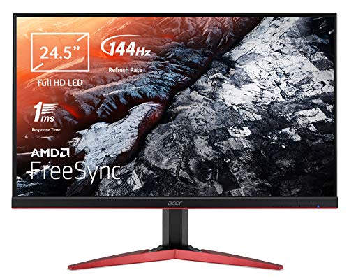 Acer KG251QFbmidpx Monitor Gaming FreeSync da 24,5', Display Full HD (1920x1080), 144Hz, 16:9, Tempo di Risposta 1ms, Luminosità 400 cd/m2, DVI, HDMI, DP, Speaker Integrati, Nero