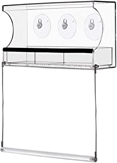 niumanery Hanging Removable Bird Feeder with Bird Stand Clear Glass Window Seed Tray Refil