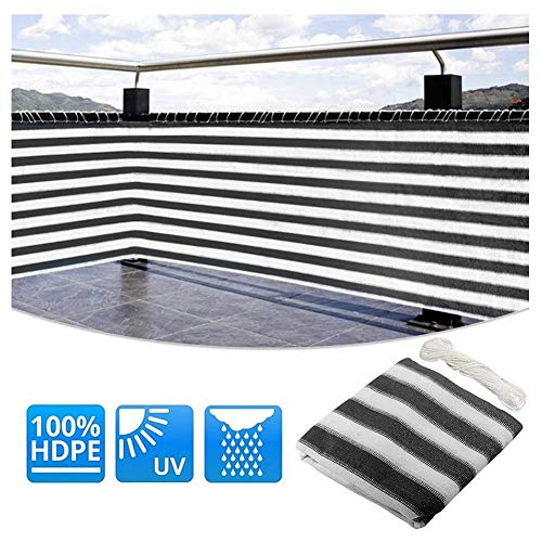 LSXIAO Privacy Screen Weather Shield Anti-UV Swimming Pool Cover With Eyelet And Free Rope For Porch, Terrace Sunshade, 28 Sizes (Color : Gray White, Size : 1x50m)
