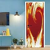Hogar Puerta Pegatina 77 x 200 cm DIY Decoraciones para Puerta Sala de Baño Estar Dormitorio 3D Para Puertas Papel-fuego