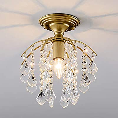 Crystal Chandelier Lighting, SOZOMO Elegant Crystal Pendant Light Modern Chandelier with Built-in Ceiling Lamp for Bedroom, Hallway, Bar, Kitchen, and Bathroom. Gold.