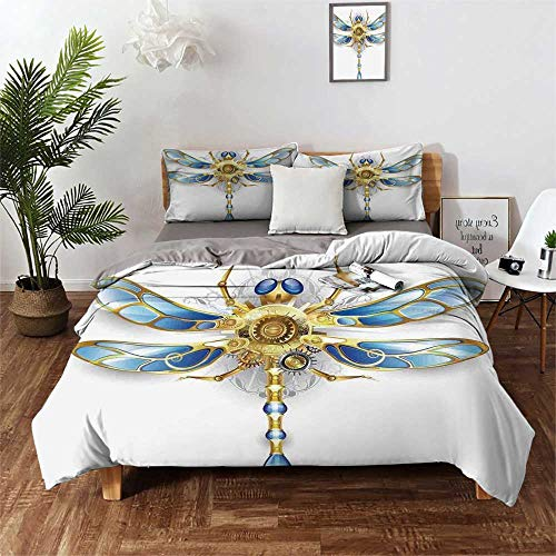 Hello-one Sweaters Lightweight Comforter Set for All Season Dragonfly Close Up View of Mechanical Dragonfly with Multifaceted Eyes and Gears Body Print (3pcs, Queen Size) Pillow case