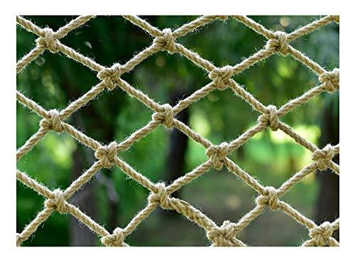 WML Hand-woven anti-aging hemp rope, children's safety net, Ceiling Hang decoration net stair fall prevention net, cargo rope balcony railing protection net, Beige Diameter 8mm