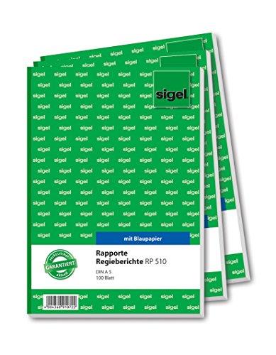 SIGEL RP510 Rapporte / Regieberichte, A5, 100 Blatt, 3er Pack