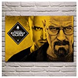 KONGQTE Breaking Bad Bryan Cranston Walter White Aaron Paul Men with Glasses Room Home Wall Modern Art Decor Wood Frame Poster-24X36 Inch X1No Frame