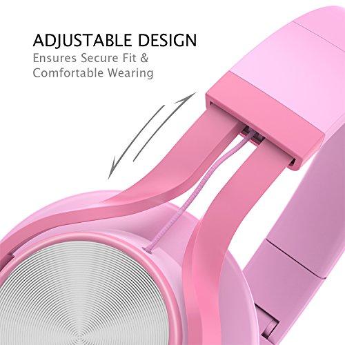AILIHEN C8 Kopfhörer mit Kabel Mikrofon und Lautstärkeregler Faltbar 3,5mm Headsets On-Ear für Smartphones PC Laptop (Pink)