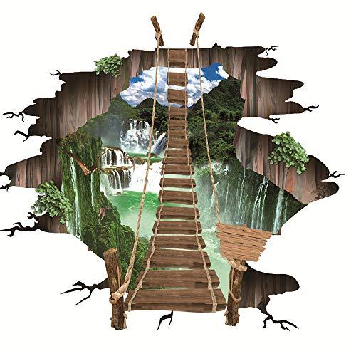 Ywoow? - Adhesivo decorativo para pared y suelo de puente 3D extraíble, vinilo decorativo para sala de estar, diseño de puente de suspensión 3D