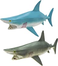 """Rockin Gear Toy Shark - Great White Shark - Rubber Toy Figure - Rubber Shark 9"""" inch - Squeeze The Shark to Hear it Squeal - Bathtub Toy 2 SET SQY-S"""