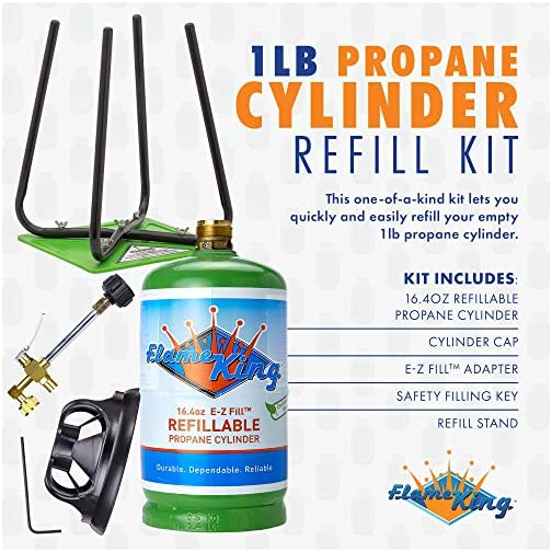 Flame King Refillable 1 lb Empty Propane Cylinder Tank - with Refill Kit and CGA600 Connection - Reusable - Safe and… 4