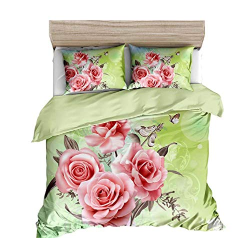 GSYHZL Single Double Bedclothes Set ,3D rose print king bedding set, duvet cover and pillowcase for girls and boys apartment-F_260*230cm(3pcs)