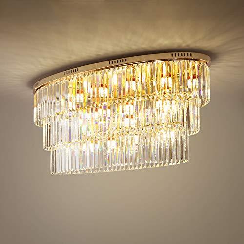CRYGD Ovale kristallen kroonluchter LED-verlichtingslichaam rood-omlijsting hanglamp voor woonkamer eetkamer boven tafel, E14 lampen, 110 * 45 * 50 cm