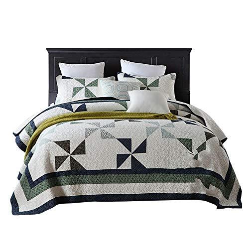 BYEON Summer Quilt 3 PCS modèle de Moulin à Vent Quilt Set brodé Couvre-lit Couvre-lit jeté avec 2 Shams hypoallergénique Vintage,BlueandGreen,Full/Queen