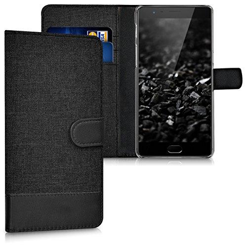 kwmobile Wallet Hülle kompatibel mit OnePlus 3 / 3T - Hülle mit Ständer - Handyhülle Kartenfächer Anthrazit Schwarz