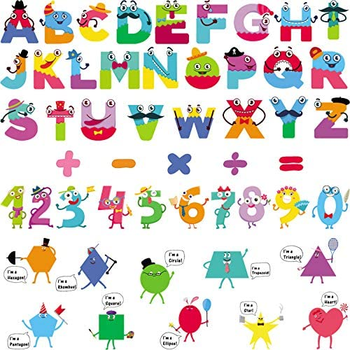Colorful Alphabet Stickers Learning Wall Decals Alphabet Number Shape Educational Math Wall product image