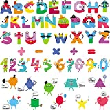 Colorful Alphabet Stickers Learning Wall Decals Alphabet Number Shape Educational Math Wall Stickers Peel and Stick Classroom Wall Decals Kids Playroom Bedroom Decorations