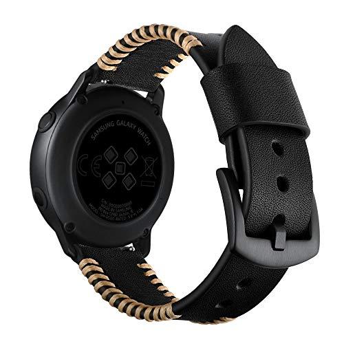 HappyTop Correa de Piel Hecha a Mano Compatible con Samsung Galaxy Watch Active Watch, Pulsera Casual, Color Negro, Informal