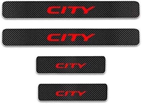 HAOHAO Anti-Kratz-Platte für Autoschwelle für Passend für 4 Stück Externes Carbon-Faser-Leder-Auto Kick-Platten Pedal for City, Einstieg Willkommen Pedal-Tritt Scuff Threshold Bar Schutz Aufkleb.