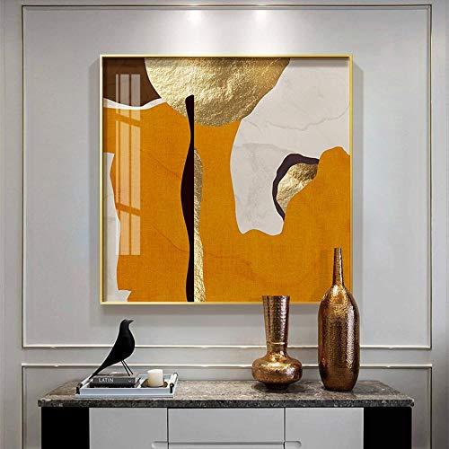 Lámina de oro abstracta arte anillos geométricos póster imágenes artísticas de pared para sala de estar oficina decoración del hogar nórdico lujoso 50x50 cm sin marco