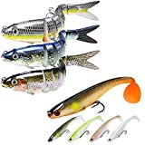 TRUSCEND Fishing Lures for Bass Trout 5.4' Multi Jointed Swimbaits & 3.5' Paddle Tails Swimbaits Bionic Swimming Lures Bass Freshwater Saltwater Bass Fishing Lures Kit Lifelike…