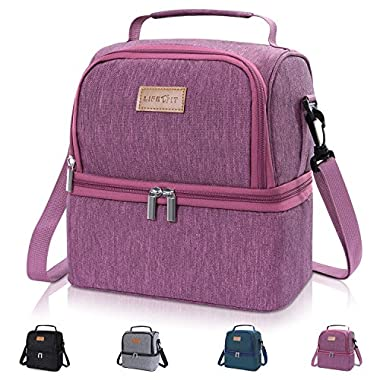 Lifewit Insulated Lunch Box Lunch Bag for Adults/Men/Women/Kids, Water-Resistant Leakproof Soft Cooler Bento Bag for Work/School/Meal Prep, Dual Compartment, 7L, Rose Pink [ with Blue Ice Pack ]