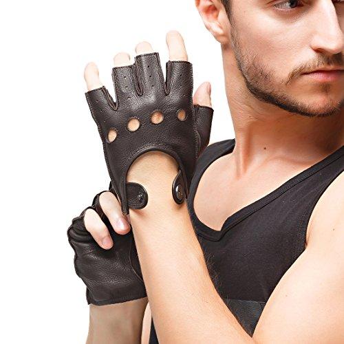 Nappaglo Herren Hirschleder Fingerlose Handschuhe Halbfinger Lederhandschuhe für Fahren Motorrad Radfahren Ungefüttert Handschuhe (S (Umfang der Handfläche:bis zu 20.3cm), Braun)