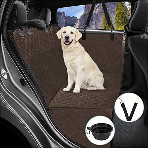 MANCRO Dog Car Seat Covers, Pet Backseat Cover for Cars with Side Flap, Waterproof & Nonslip Dog Seat Cover, Pet Seat Covers for Cars Trucks and SUVs, Khaki