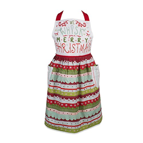 DII Holiday Tidings Kitchen Apron, One Size, Whisk You A Merry Christmas