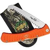 Outdoor Edge Flip N' Zip Folding Hunting & Camp Saw for Wood & Bone, 4.4' Blade, Blaze Orange Handle with Mossy Oak Sheath (FW-45)