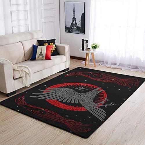 Knowikonwn Durable The Red Viking Raven - Alfombras para sala de estar, muy lindas, cómodas, para niñas y niños, color blanco, 91 x 152 cm