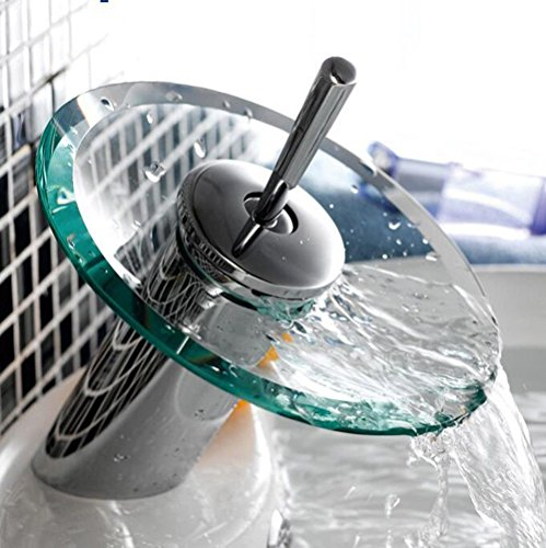 SADASD Bagno moderno rubinetto lavabo in vetro di rame cascata vento semplice lavabo doppio lavabo rubinetti valvola ceramica a caldo e a freddo rubinetto miscelatore con G1/2 il tubo flessibile