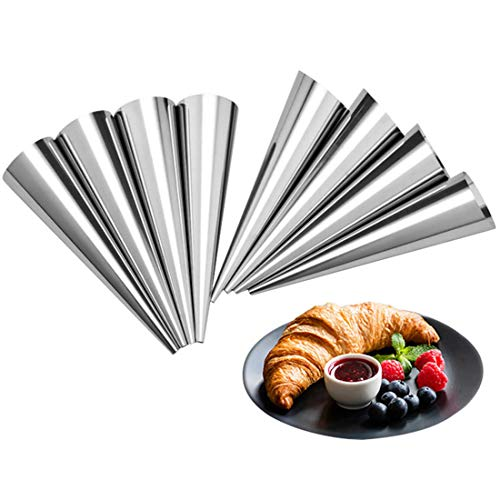 Tebery 30 Pcs Lady lock forms,Stainless Steel Pastry Cream Horn Molds,Free Standing Cone Shape