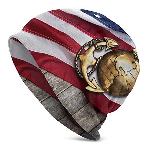 AEMAPE Globo con Bandera Americana Sombrero de Punto para Adultos Gorro de Lana Suave Holgado Gorro de Skully Gorros de Cobertura de Medio pasamontañas