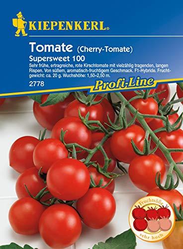 Cherry-Tomate Supersweet 100, F1, sehr frühe ertragreiche Kirschtomate mit vielzählig tragenden langen Rispen