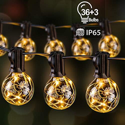 Guirnalda Luces Exterior con 39 G40 Bombillas 195LED, Ulinek 13,5M IP65 Guirnaldas Luminosas Exterior Súper Ahorra Energía Cadena Luce Decoracion para Navidad Habitacion Pergola Jardín Toldos Patio