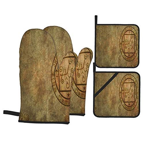 Ofenhandschuhe und Topflappen 4er-Sets,EIN altes strukturiertes Papier mit mystischem magischem okkultem Siegel oder Siegel und Leerraum,Polyester-Grillhandschuhe mit gesteppten,linerbeständigen