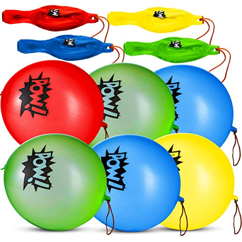 Superhero Punch Balloons - Pack of 24 Bulk, Large Punching Balls, Pow Comic Book Super Hero Designs For Carnivals, Goodie Bag Stuffer Toys, Birthday Party Favors for Kids