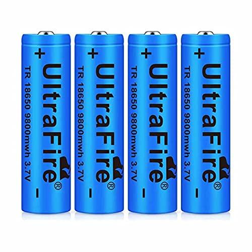 4pcs 18650 Batería Recargable 3.7 9800 MAH Azul Litio BateríA Recargable De Iones De Litio 3.7v Pilas Recargables 18650 Alto Rendimiento BotóN De La BateríA Superior para Linterna 18650,18X65mm