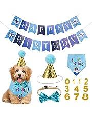 Opopark Bandana para perros, feliz cumpleaños bandana pañuelo pañuelo pañuelo pajarita y 0 – 8 números para perros Pet linda decoración regalo de cumpleaños set azul