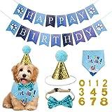 Opopark Bandana per Cani, Buon Compleanno Bandana Sciarpa Cappello Papillon Banner e 0-8 Numeri per Cani Pet, Carino Decorazioni Regalo di Compleanno Set, Blu