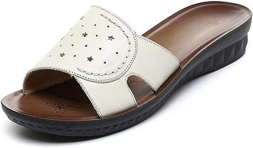 RegbKing Strandschuhe Open Toe Hausschuhe Komfortable Sommer Sommer Sommer Keilschuhe Damen Sandalen Beige-42(260mm)  Rabatt niedrigen Preis