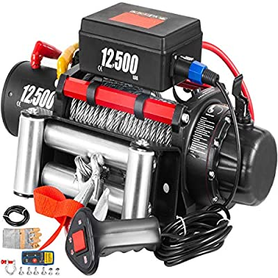VEVOR Truck Winch 12500Ibs Electric Winch 65ft/20m Cable Steel 12V Power Winch Jeep Winch with Wireless Remote Control and Powerful Motor for UTV ATV & Jeep Truck and Wrangler in Car Lift